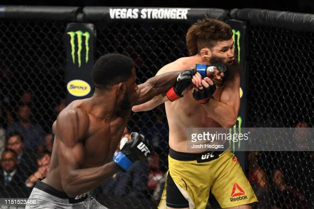 Randy Brown of Jamaica punches Bryan Barberena in their welterweight bout during the UFC Fight Night event at Bon Secours Wellness Arena on June 22,...