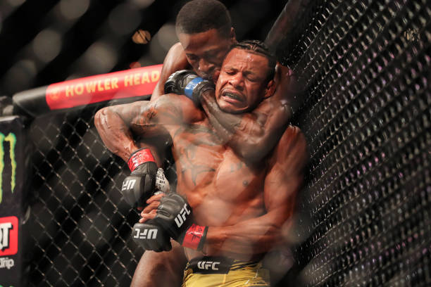 Randy Brown of Jamiaica forces Alex Oliveira of Brazil to tap out during UFC 261 at VyStar Veterans Memorial Arena on April 24, 2021 in Jacksonville,...