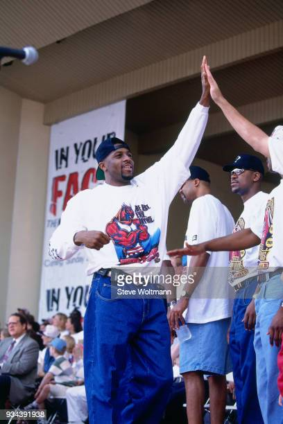 Randy Brown of the Chicago Bulls celebrates at the Bulls 1996 NBA Championship parade on June 18 1996 in Chicago Illinois NOTE TO USER User expressly...
