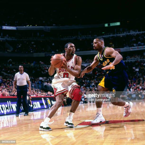 Randy Brown of the Chicago Bulls handles the ball against the Indiana Pacers on April 20 1996 at the United Center in Chicago Illiniois NOTE TO USER...