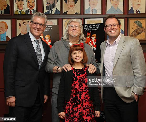 Randy Buck Martin Charnin Issie Swickle and Matthew Wolf attend the Annie Cast Photocall at Sardi's on December 4 2015 in New York City