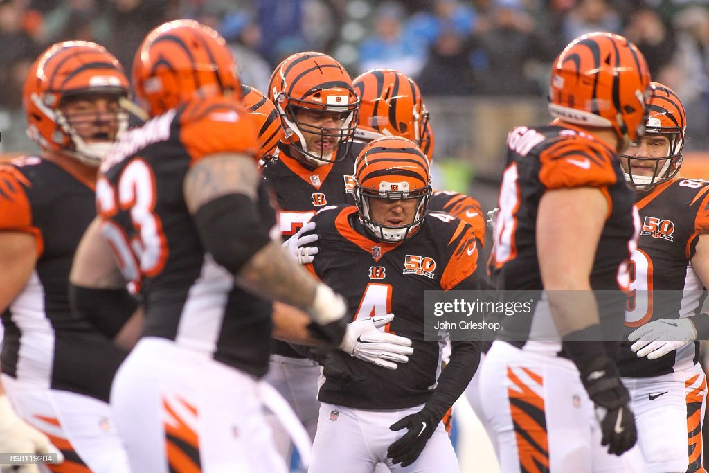 Randy Bullock #4 of the Cincinnati Bengals celebrates after a field goal against the Detroit Lions during the second half at Paul Brown Stadium on December 24, 2017 in Cincinnati, Ohio.