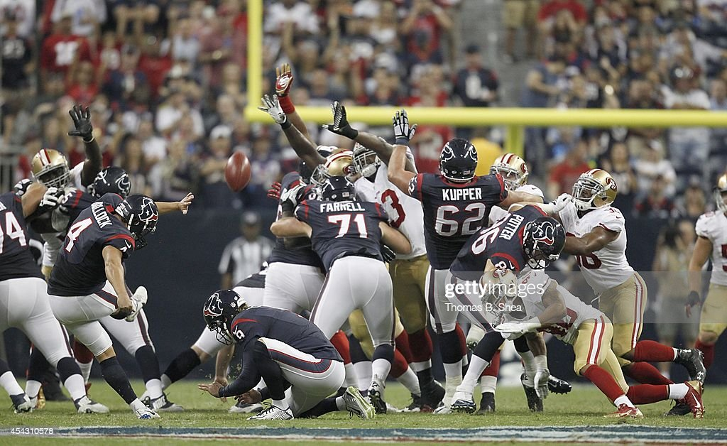 Randy Bullock #4 of the Houston Texans kicks a field goal against the San Francisco 49ers in the second quarter in a pre-season NFL game on August 28, 2014 at NRG Stadium in Houston, Texas.