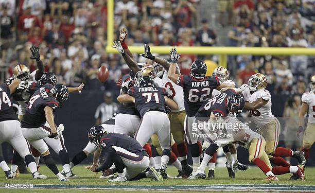 Randy Bullock of the Houston Texans kicks a field goal against the San Francisco 49ers in the second quarter in a preseason NFL game on August 28...