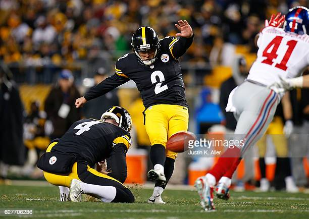 Randy Bullock of the Pittsburgh Steelers at Heinz Field kicks an extra point in the first half during the game against the New York Giants on...