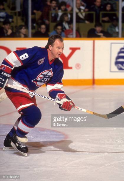 Randy Carlyle of the Winnipeg Jets skates on the ice during an NHL game circa 1992