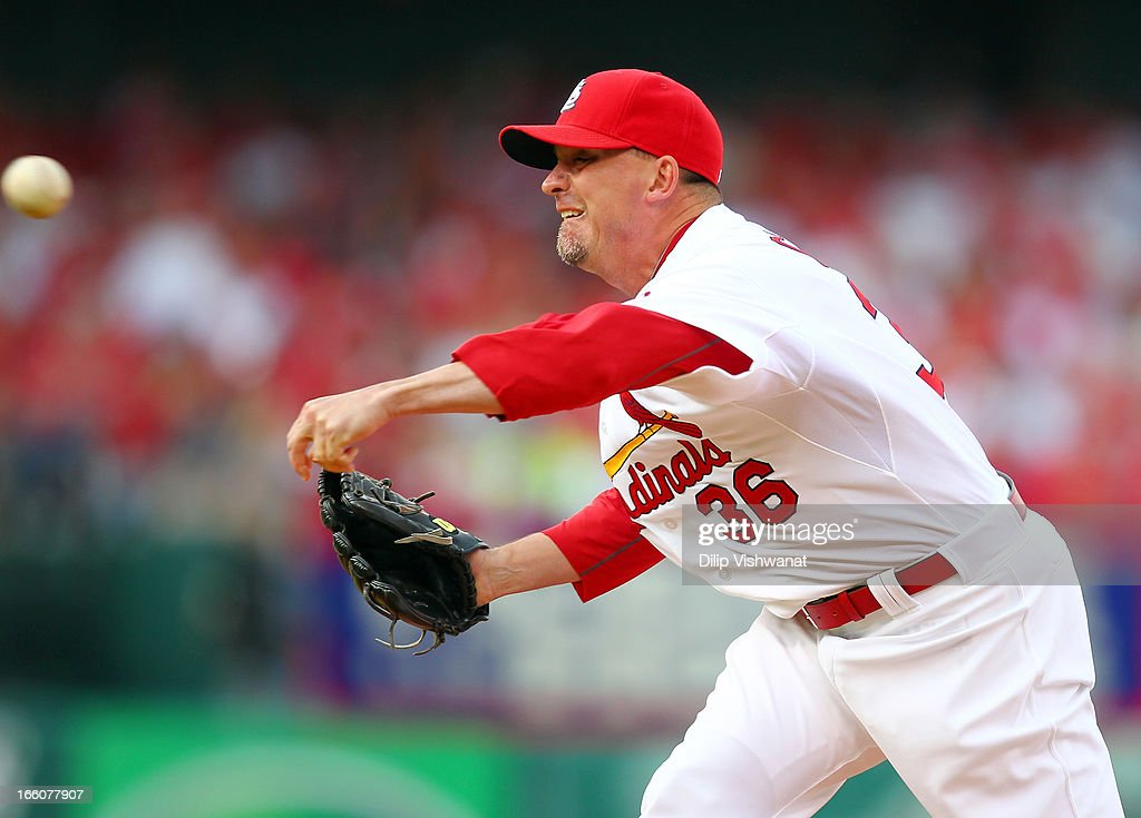 Randy Choate #36 of the St. Louis Cardinals delivers a pitch against the Cincinnati Reds during Opening Day on April 8, 2013 at Busch Stadium in St. Louis, Missouri.