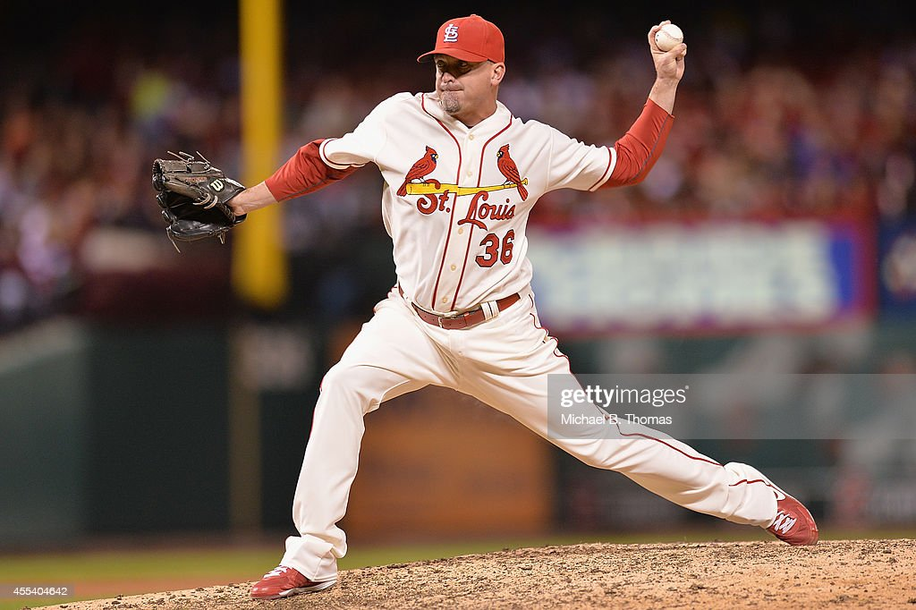 Randy Choate #36 of the St. Louis Cardinals pitches against the Colorado Rockies in the eighth inning at Busch Stadium on September 13, 2014 in St. Louis, Missouri. The Cardinals defeated the Rockies 5-4.
