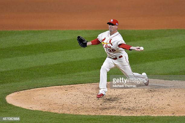 Randy Choate of the St. Louis Cardinals pitches in the seventh inning against the San Francisco Giants during Game One of the National League...