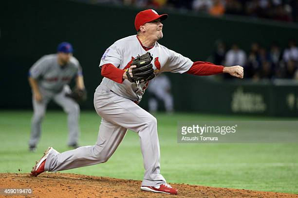 Randy Choate of the St Louis Cardinals pitches in the sixth inning during the game three of Samurai Japan and MLB All Stars at Tokyo Dome on November...