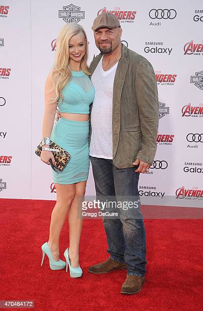 Randy Couture and Mindy Robinson arrive at the Los Angeles premiere of Marvel's Avengers Age Of Ultron at Dolby Theatre on April 13 2015 in Hollywood...