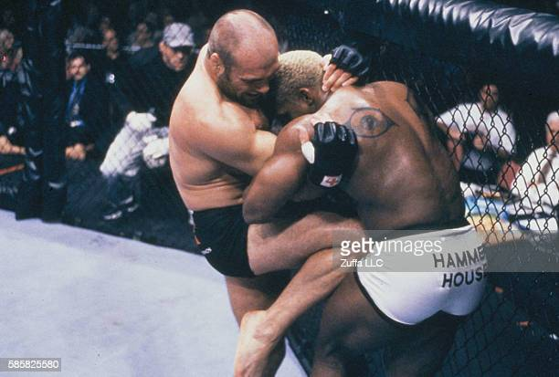 Randy Couture knees Kevin Randleman during the UFC 28 High Stakes event inside the Trump Taj Mahal on November 17 2000 in Atlantic City New Jersey