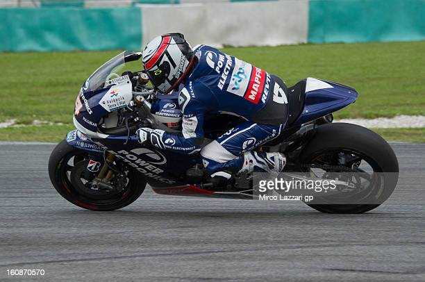 Randy De Puniet of France and Power Electronics Aspar heads down a straight during the MotoGP Tests in Sepang Day Five at Sepang Circuit on February...