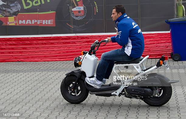 Randy De Puniet of France and Power Electronics Aspar rides the scooter in paddock during the MotoGp Of Holland at TT Circuit Assen on June 27 2012...