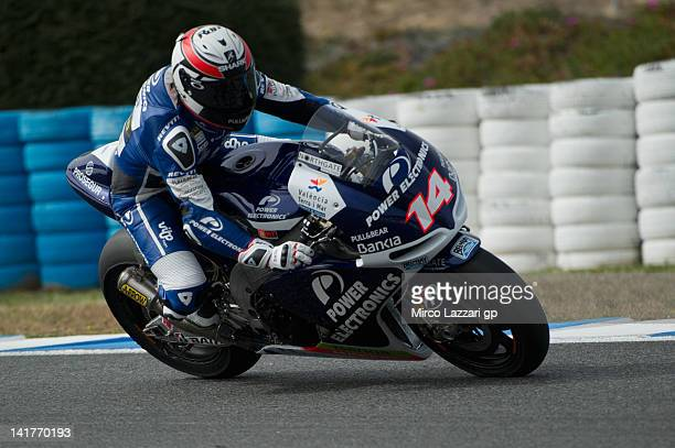 Randy De Puniet of France and Power Electronics Aspar rounds the bend during the first day of testing of MotoGP Tests In Jerez at Circuito de Jerez...