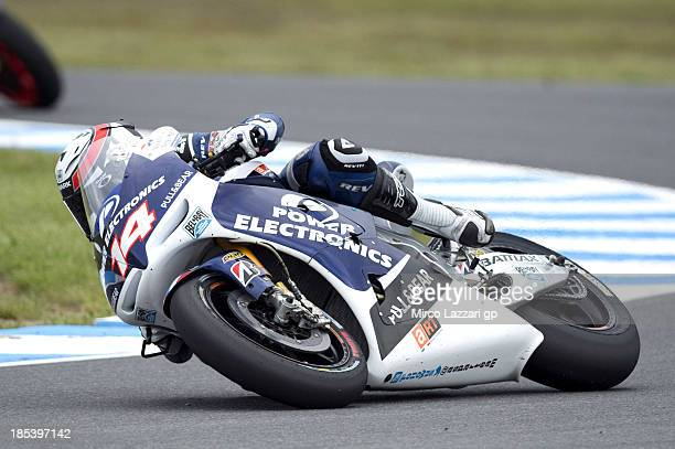 Randy De Puniet of France and Power Electronics Aspar rounds the bend during the MotoGP race ahead of the Australian MotoGP which is round 16 of the...