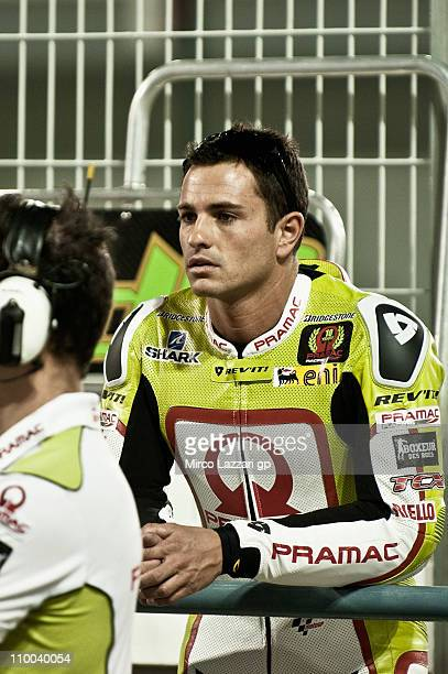Randy De Puniet of France and Pramac Racing Team looks on in pit during the first day of MotoGP Tests at Losail Circuit on March 13 2011 in Doha Qatar