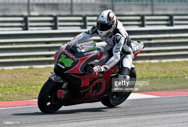 Randy De Puniet of France and Pramac Racing Team rounds the bend during the second day of testing at Sepang Circuit on February 23 2011 in Kuala...