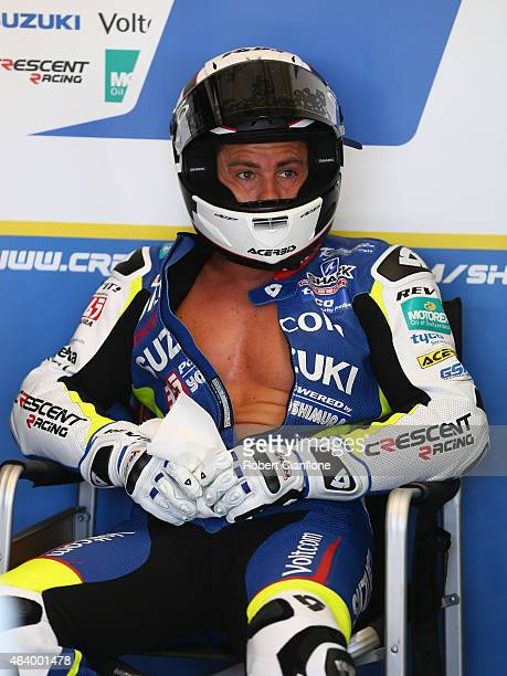 Randy De Puniet of France and rider of the VOLTCOM Crescent Suzuki GSXR1000 looks on during qualifying for the World Superbikes World Championship...