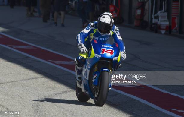 Randy De Puniet of France and Suzuki Test Team returns in box during the MotoGP Tests in Misano at Misano World Circuit on September 16 2013 in...