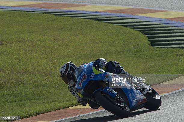 Randy De Puniet of France and Suzuki Test Team rounds the bend during the MotoGP of Valencia Free Practice at Ricardo Tormo Circuit on November 7...
