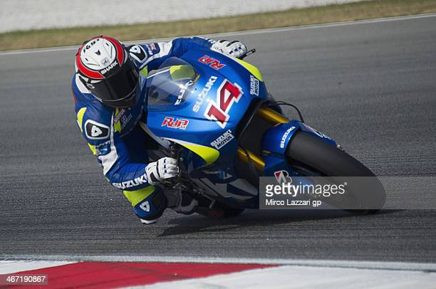 Randy De Puniet of France and Suzuki Test Team rounds the bend during the MotoGP Tests in Sepang Day Three at Sepang Circuit on February 6 2014 in...