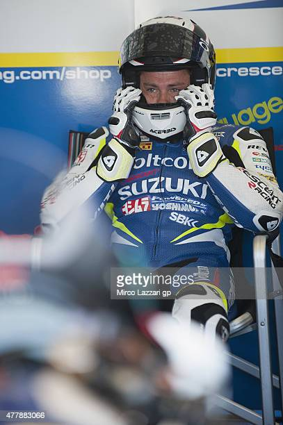 Randy De Puniet of France and Voltcom Crescent Suzuki looks on in box during the FIM Superbike World Championship Qualifying at Misano World Circuit...