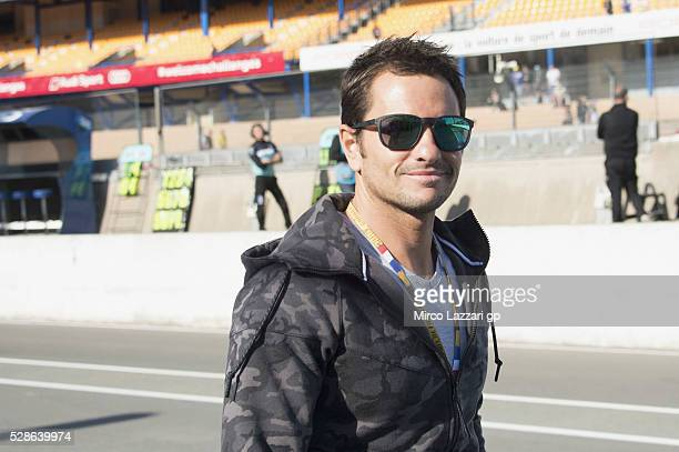 Randy De Puniet of France smiles in pit during the MotoGp of France Free Practice on May 6 2016 in Le Mans France
