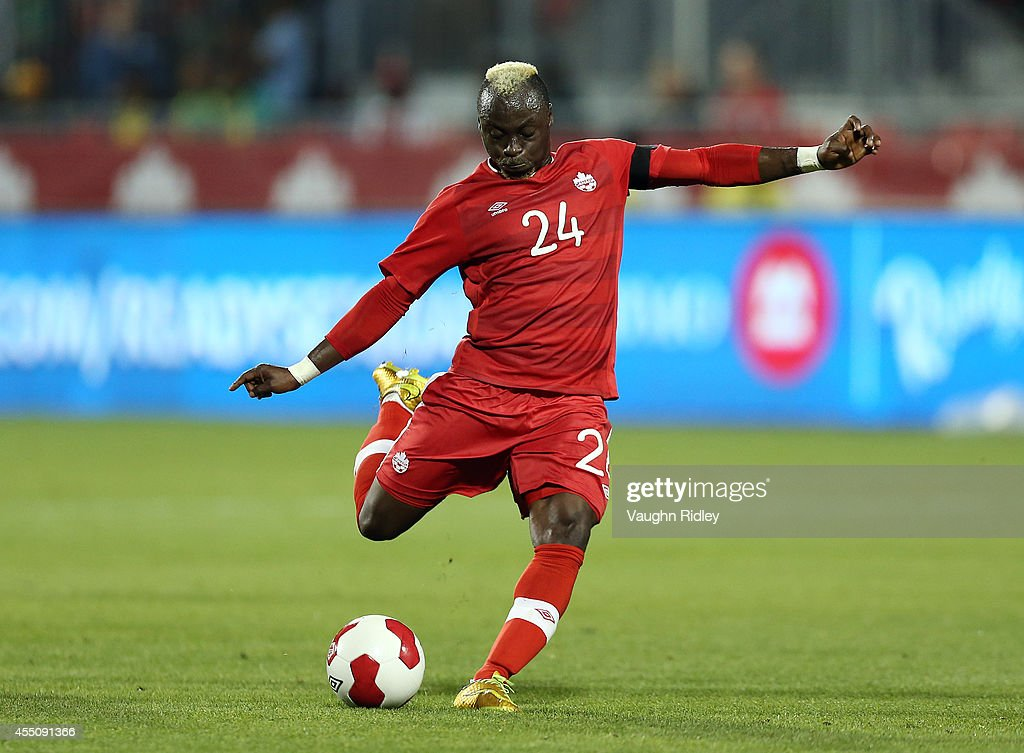 Randy Edwini-Bonsu of Canada has a shot at goal during the International Friendly match between Canada and Jamaica at BMO Field on September 09, 2014 in Toronto, Ontario, Canada.