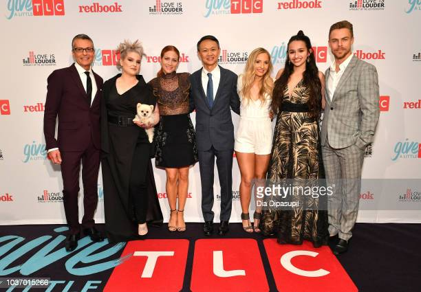 Randy Fenoli Kelly Osbourne Brittany Snow President and GM of TLC Howard Lee Jessie Chris Jazz Jennings and Derek Hough attend 2018 TLC's Give A...