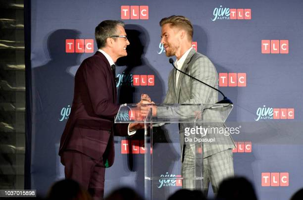 Randy Fenoli of TLC's Say Yes to the Dress and dancer Derek Hough speak onstage during 2018 TLC's Give A Little Awards on September 20 2018 at Park...