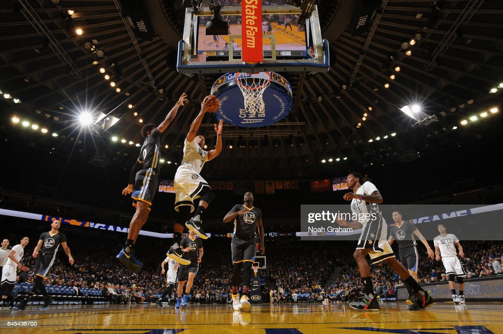 Randy Foye #2 of the Brooklyn Nets goes to the basket against the Golden State Warriors on February 25, 2017 at ORACLE Arena in Oakland, California.