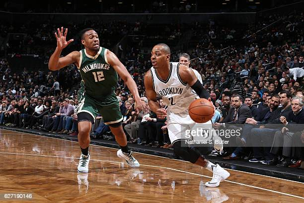 Randy Foye of the Brooklyn Nets handles the ball against Jabari Parker of the Milwaukee Bucks on December 1 2016 at Barclays Center in Brooklyn New...