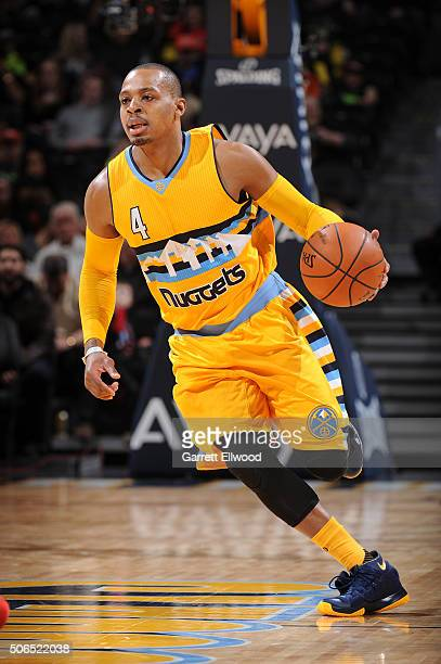 Randy Foye of the Denver Nuggets handles the ball against the Detroit Pistons on January 23 2016 at the Pepsi Center in Denver Colorado NOTE TO USER...