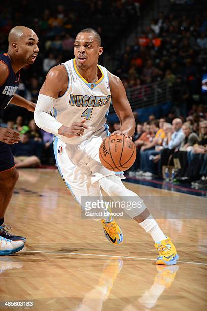 Randy Foye of the Denver Nuggets handling the ball during a game against the Charlotte Bobcats on January 29 2014 at the Pepsi Center in Denver...