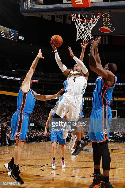 Randy Foye of the Denver Nuggets lays up a shot against the Oklahoma City Thunder at Pepsi Center on January 19 2016 in Denver Colorado The Thunder...