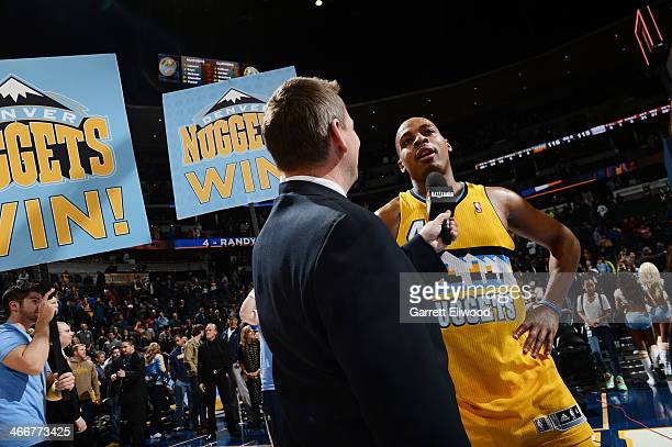 Randy Foye of the Denver Nuggets speaks with the media after hitting the game winning three pointer against the Los Angeles Clippers on February 3...