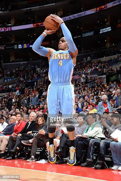 Randy Foye of the Denver Nuggets takes a shot against the Los Angeles Clippers on April 13 2015 at STAPLES Center in Los Angeles California NOTE TO...