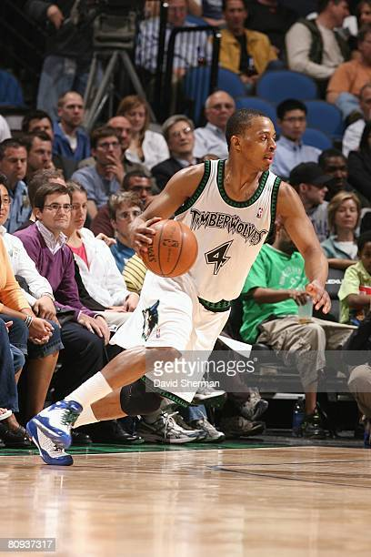 Randy Foye of the Minnesota Timberwolves moves the ball during the NBA game against the Milwaukee Bucks at the Target Center on April 16 2008 in...