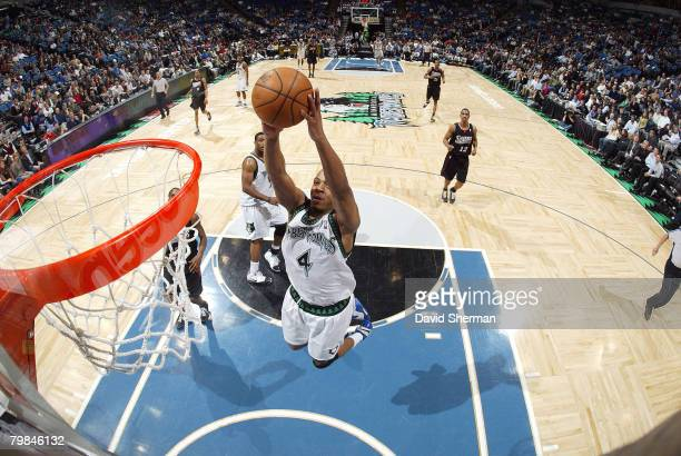 Randy Foye of the Minnesota Timberwolves scores two points against the Philadelphia 76ers on February 19 2008 at the Target Center in Minneapolis...