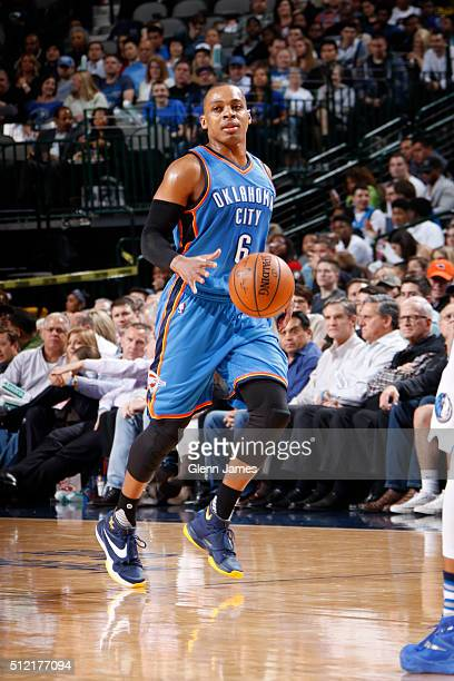Randy Foye of the Oklahoma City Thunder handles the ball during the game against the Dallas Mavericks on February 24 2016 at the American Airlines...