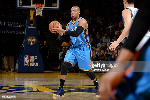 Randy Foye of the Oklahoma City Thunder handles the ball during the game against the Golden State Warriors on March 3 2016 at ORACLE Arena in Oakland...