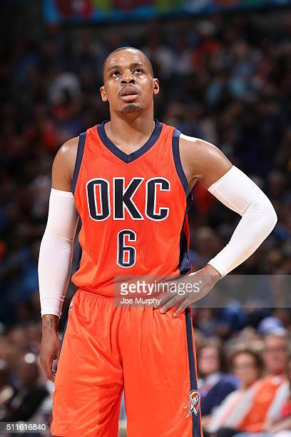 Randy Foye of the Oklahoma City Thunder stands on the court against the Cleveland Cavaliers on February 21 2016 at Chesapeake Energy Arena in...