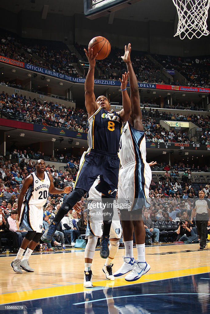 Randy Foye #8 of the Utah Jazz drives to the basket against the Memphis Grizzlies on November 5, 2012 at FedExForum in Memphis, Tennessee.