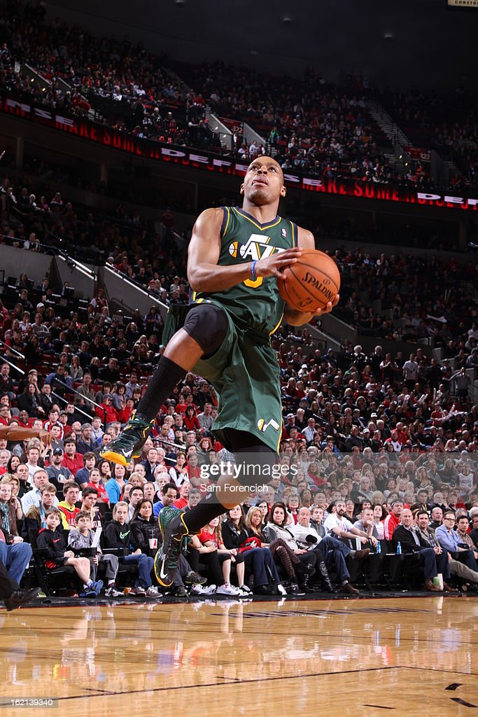 Randy Foye #8 of the Utah Jazz drives to the basket against the Portland Trail Blazers on February 3, 2013 at the Rose Garden Arena in Portland, Oregon.