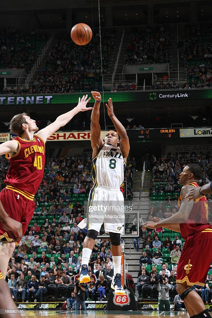 Randy Foye #8 of the Utah Jazz takes a shot against the Cleveland Cavaliers on January 19, 2013 in Salt Lake City, Utah.