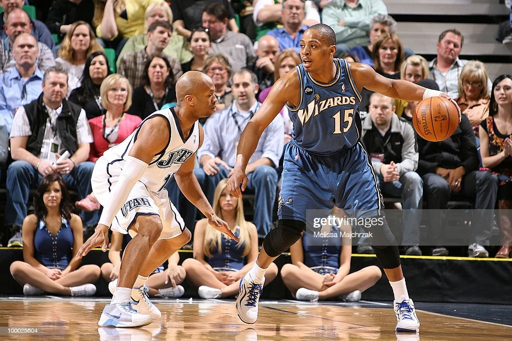 Randy Foye #15 of the Washington Wizards moves the ball against Sundiata Gaines #15 of the Utah Jazz during the game at EnergySolutions Arena on March 15, 2010 in Salt Lake City, Utah. The Jazz won 112-89.