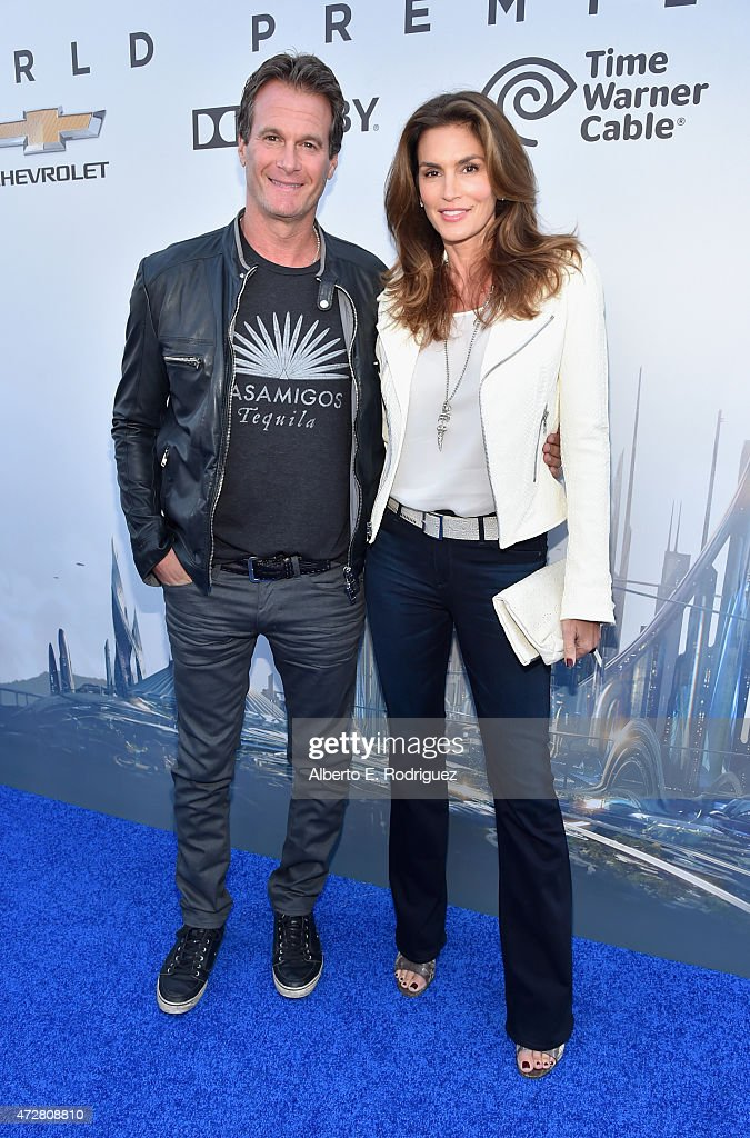 Randy Gerber (L) and model Cindy Crawford attend the world premiere of Disney's 'Tomorrowland' at Disneyland, Anaheim on May 9, 2015 in Anaheim, California.