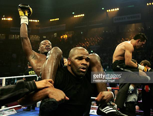 Randy Griffin celebrates after the WBA Middleweight World Championship fight between Felix Sturm of Germany and Randy Griffin of the USA during the...