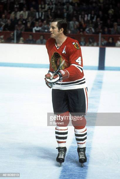 Randy Holt of the Chicago Blackhawks skates on the ice during an NHL game against the Montreal Candiens circa 1976 at the Montreal Forum in Montreal...
